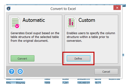 Selecting Custom Excel Conversion Option