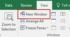 Selecting Excel New Window Option
