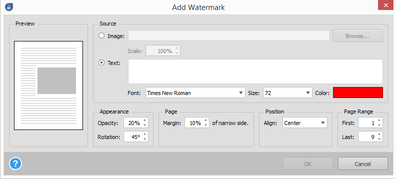 Able2Extract 11 Watermark Options