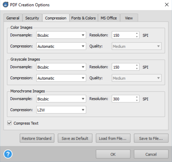 Selecting PDF Compression Settings