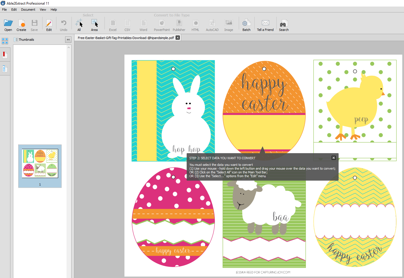 How to convert and edit free printable easter pdf templates selecting template content negle Image collections