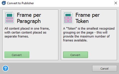 Able2Extract Publisher Conversion Options
