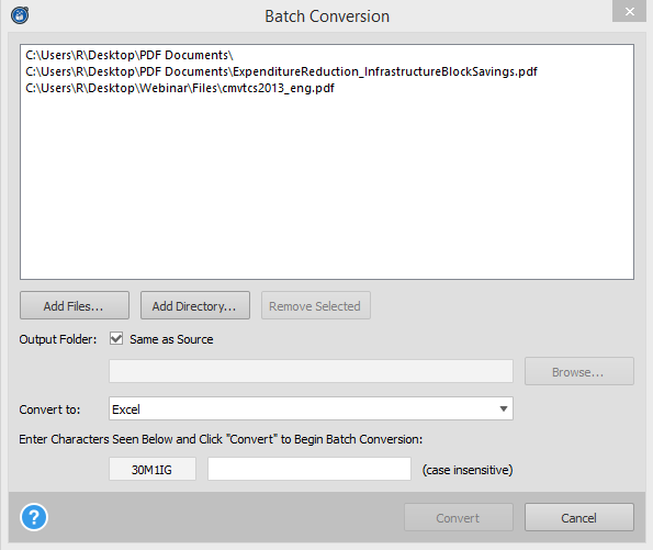 Source PDFs For Batch Conversion