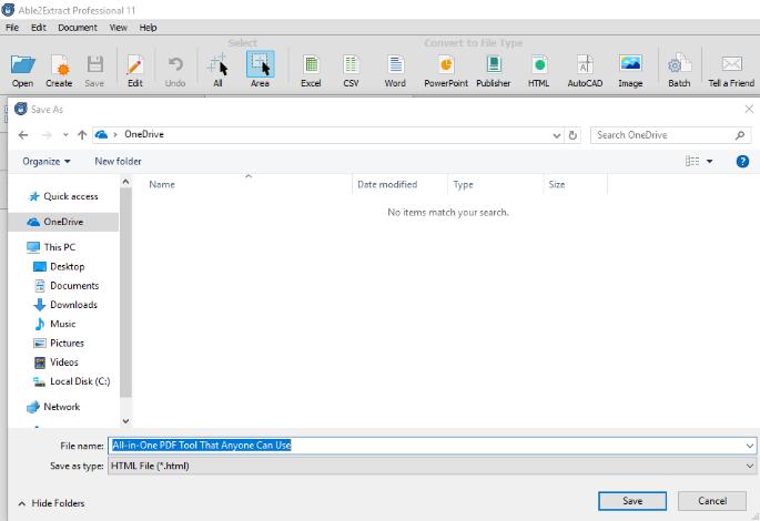 Saving PDF To HTML Conversion