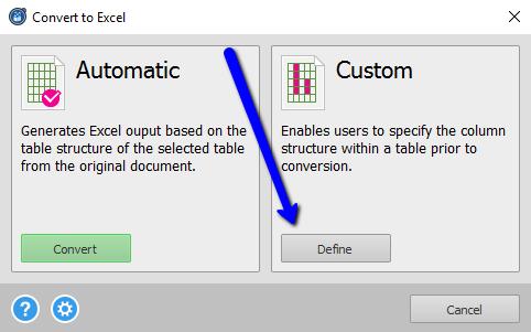 Defining Custom PDF To Excel