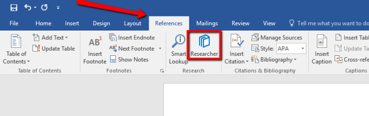 Accessing MS Word Researcher