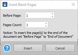 Adicionando páginas em branco PDF