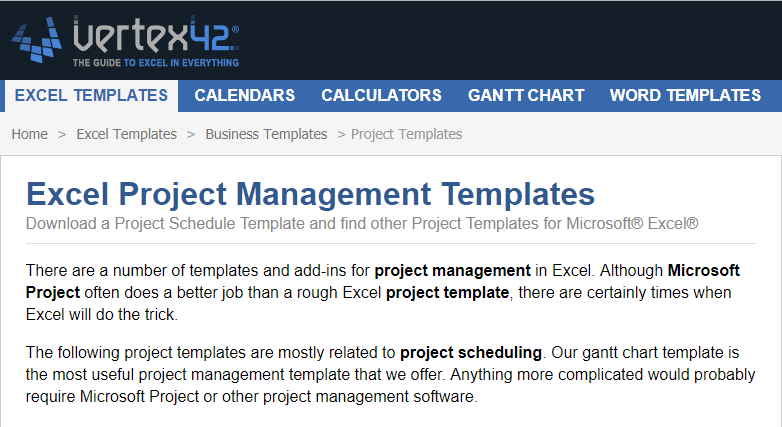 vertex 42 excel templates