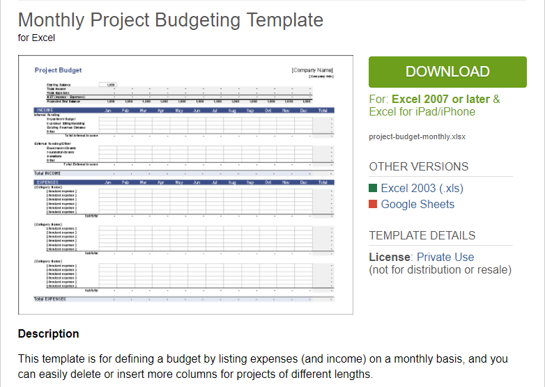 Excel template description