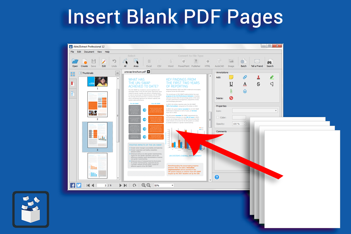 Insert blank PDF pages