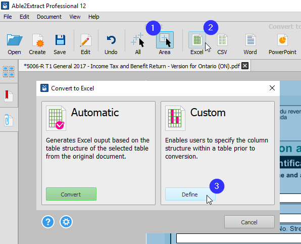 Selecting Define Custom PDF to Excel
