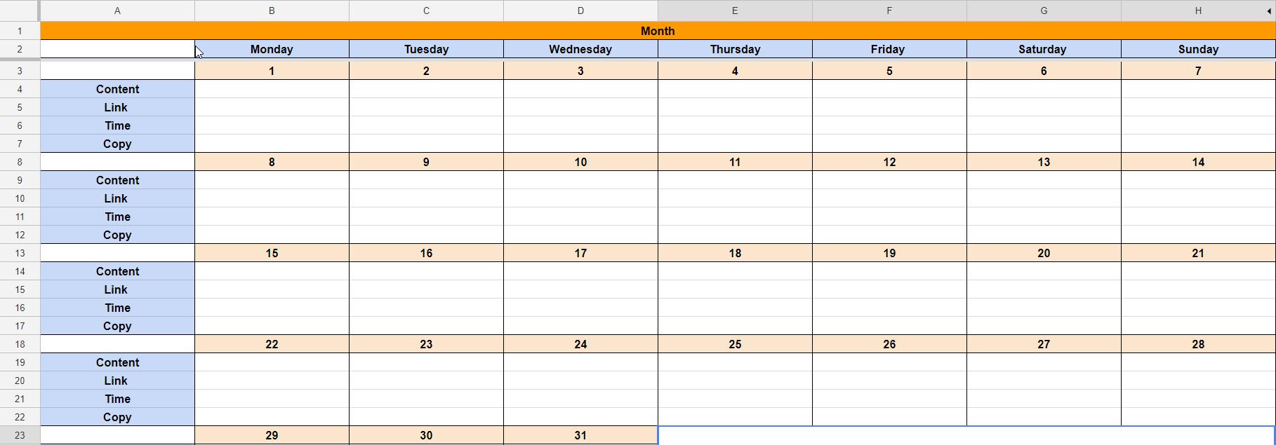 Facebook social media calendar example