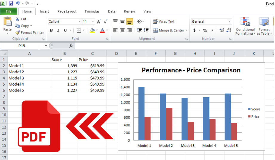 How to save Excel graph to PDF