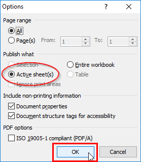 Selecting Active sheets in the Options dialog