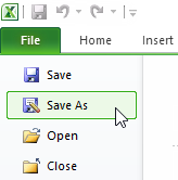 Save As option in the Excel File menu