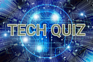 Tech Quiz written on the AI inspired background