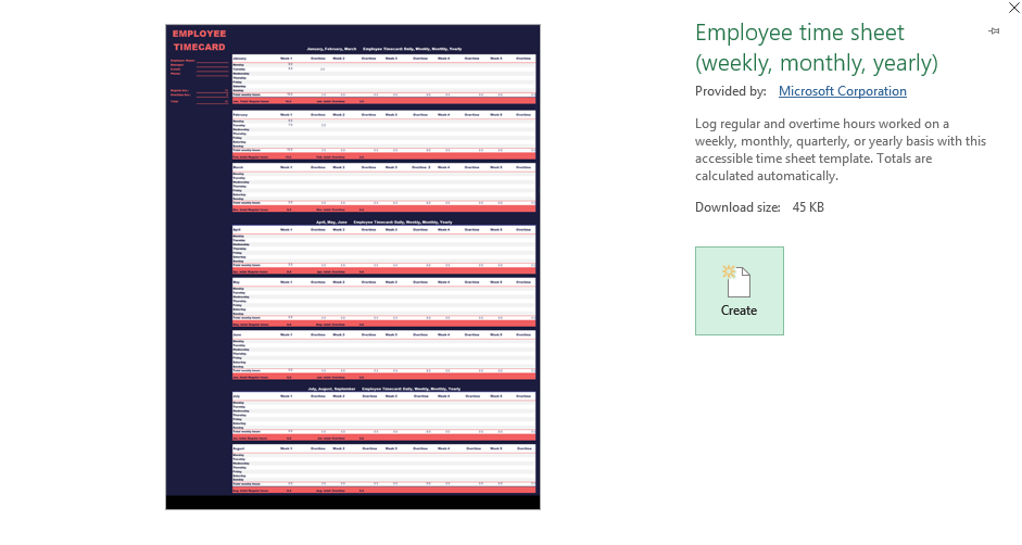 Business Employee Excel Template