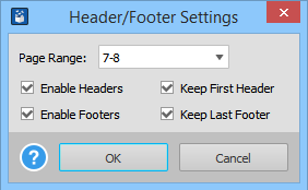 Selecting Table Headers Footers