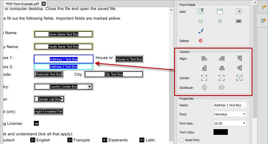 Aligning PDF Form Fields