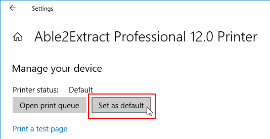 Set Able2Extract as a default printer