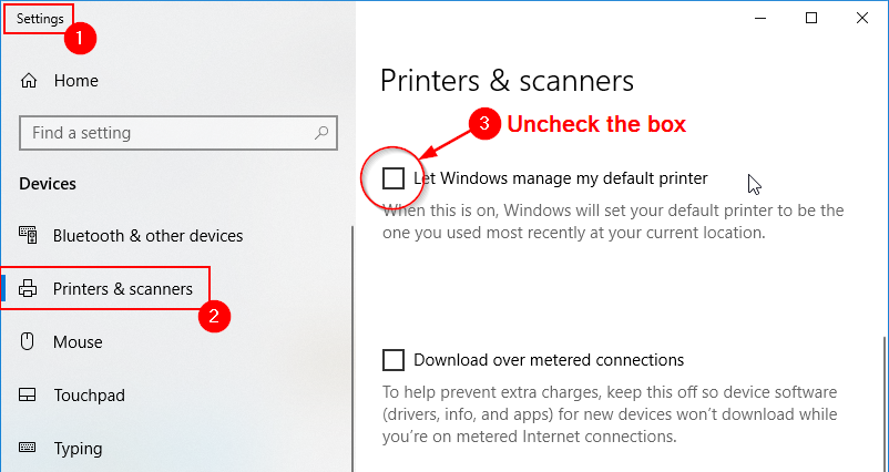 How to manage default printers manually on Windows 10