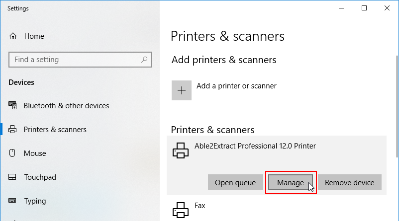 Click to manage individual printer