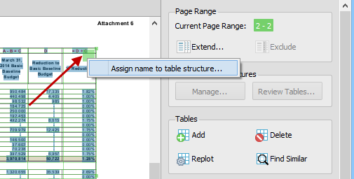 PDF to Excel - name table structure