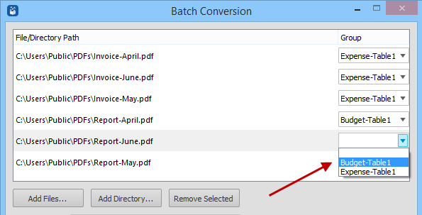 batch templates selections