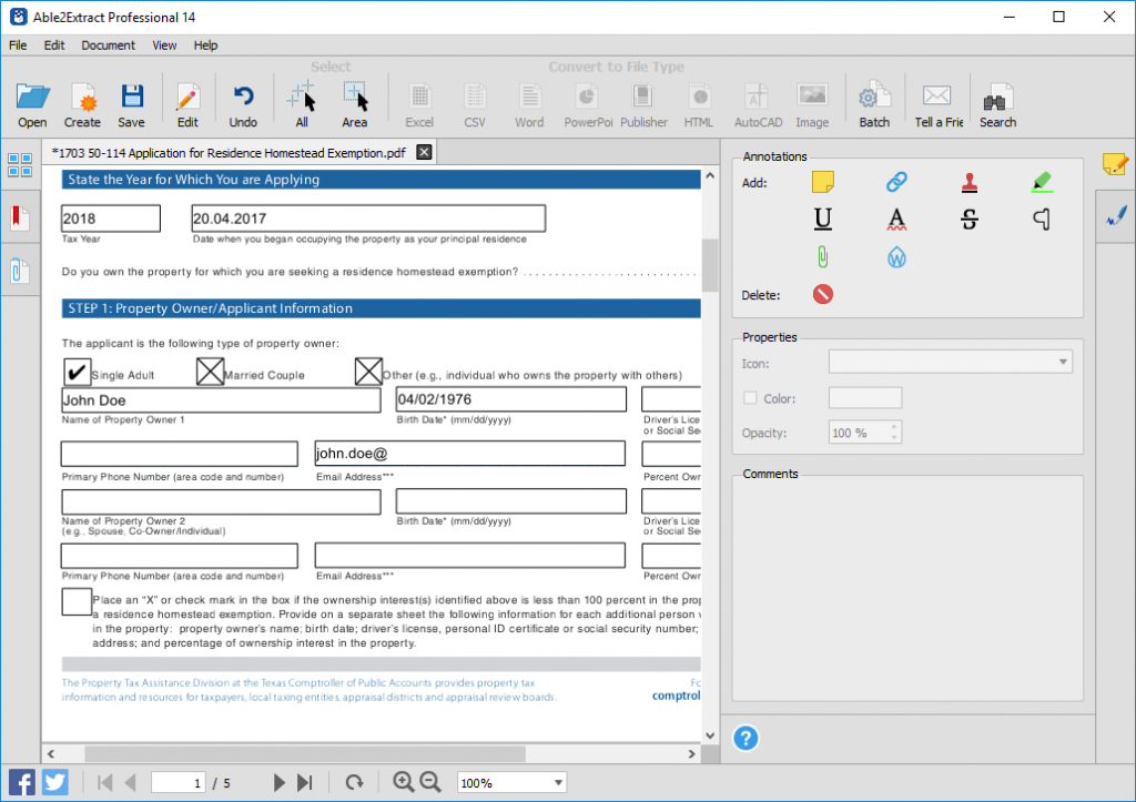 filling in a PDF form using Able2Extract