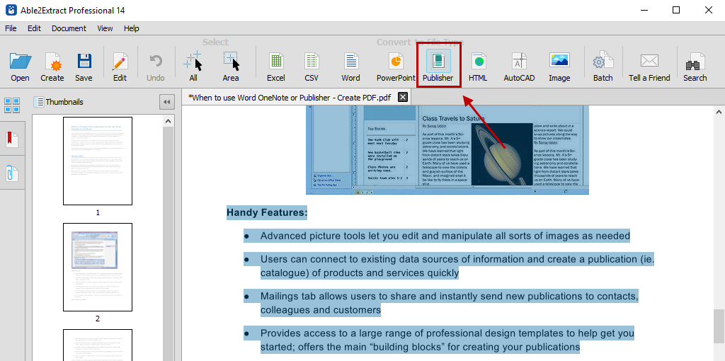 Converting PDF content to MS Publisher using Able2Extract PDF Converter