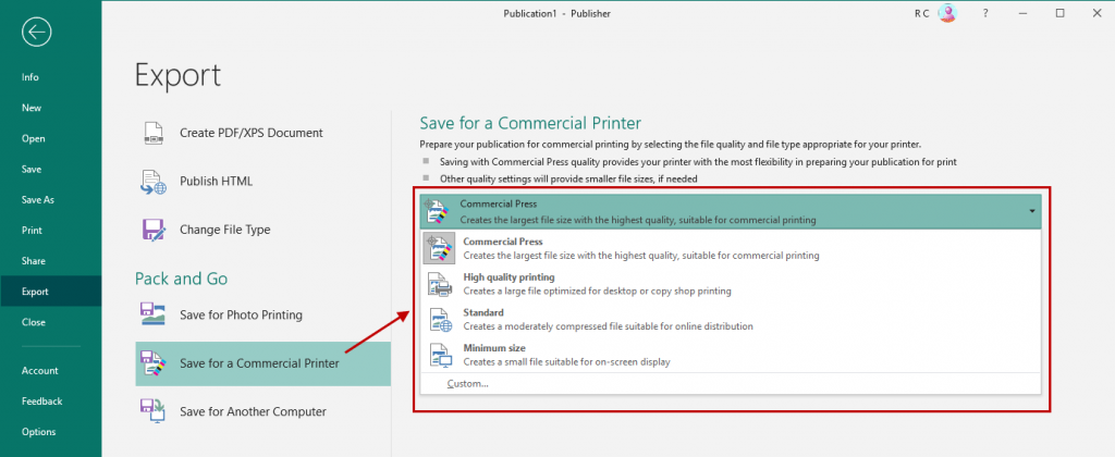 Tips on printing a project in MS Publisher