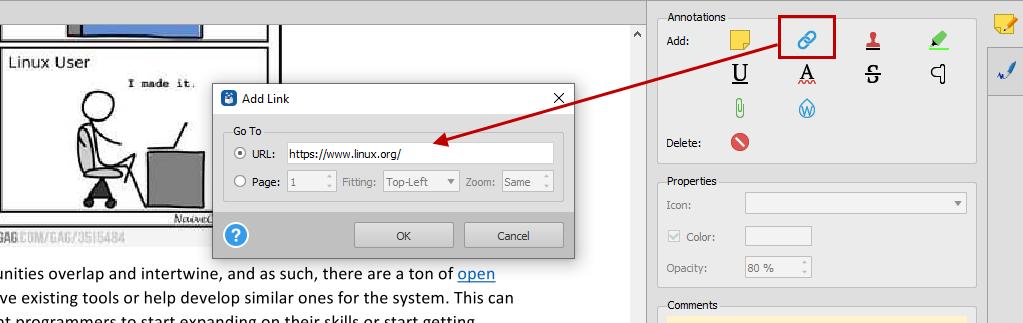 Adding links to PDF documents