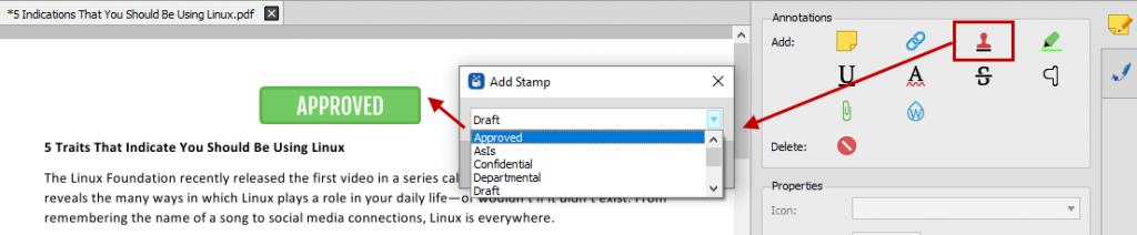 Labeling a PDF document with a stamp