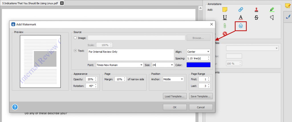 Adding watermarks to important PDF files