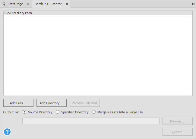 Batch PDF Creation Tool