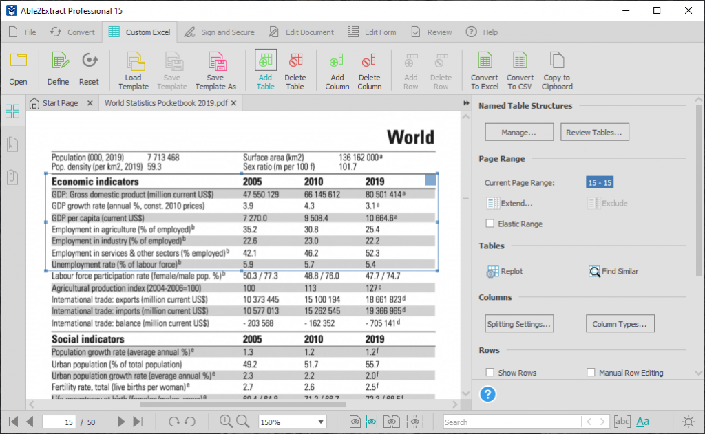 Able2Extract 15 Custom PDF to Excel improvements