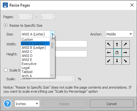 Resizing PDF pages with Able2Extract