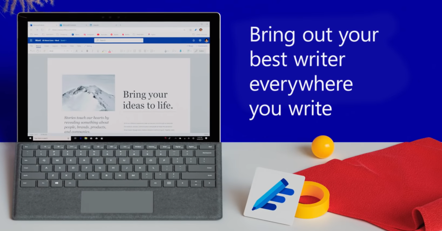 Photo still from the Microsoft Editor promotional YouTube video