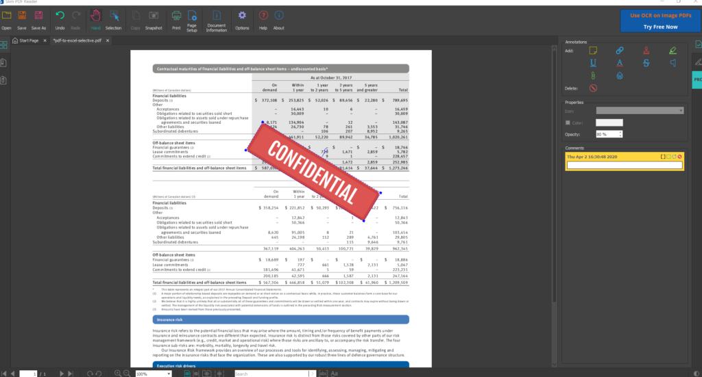 Slim PDF reader dark theme interface