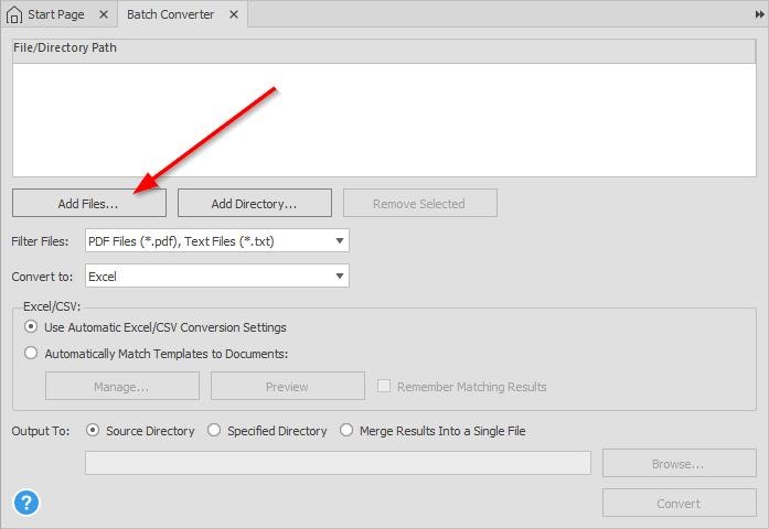 Adding PDF files for Batch Conversion