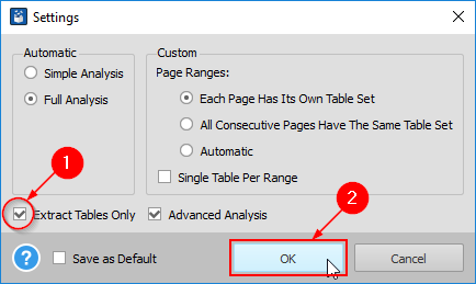 convert to excel settings dialog